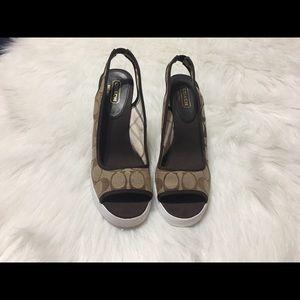 COACH Sydney Wedge Sandal Heels